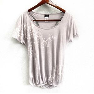 Daytrip Gray Floral Draped Racer Back Sequin Shirt